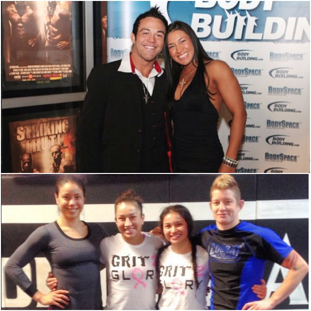 (top) Zoila and husband Jorge pose for photos while assisting in the promotion of a local event. (bottom) The benefit of having so many top female fighters in the same gym (l to r) Miriam Nakamoto, Zoila Frausto Gorgel, Stephanie Frausto and Sarah D'Alelio seems almost unfair for the ladies who have to compete against them.