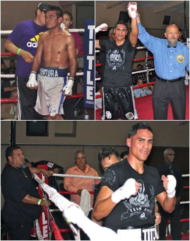 "(top, right) At the conclusion of Bout #6, Jorge ""Tito"" Ruiz has his arm raised in victory by referee Jose Cobian. Photos: Jim Wyatt"