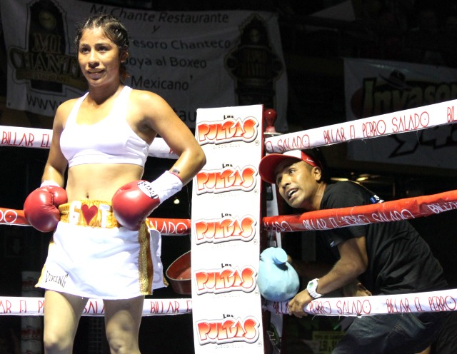 For almost two years, ever since she turned professional, Kenia Enriquez has been dominating the combination in Tijuana, B. C., Mexico. On February 28th she is making her U. S. debut. Photo: Jim Wyatt