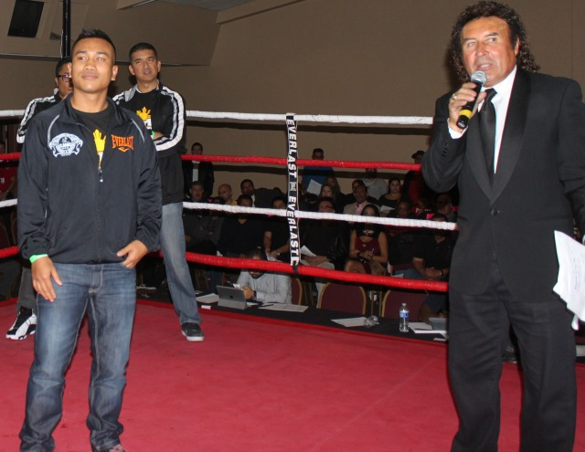 "Ring announcer Benny Ricardo makes the announcement that lightweight Mercito ""No Mercy"" Gesta will be in the Main Event of the next ""Ringside at Del Mar"" show in this series of six events held at the Del Mar Fairgrounds."
