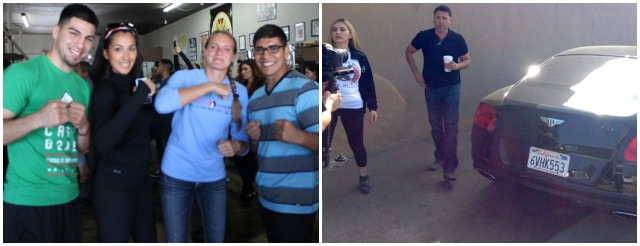 These two ladies from the All In Entertainment group, Michelle Sobociuski ( blue top) and Jessica Morales (in black) had a chance to meet boxer/House of Boxing gym owner David Barragan (l) and lightweight contender Antonio Orozco (r). Photos: Jim Wyatt
