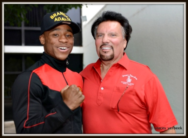 "Brandon ""The Cannon"" Adams with his #1 backer Bobby De Philippis, Hall of Fame boxing promoter. Photo: Stacy Veerbek"