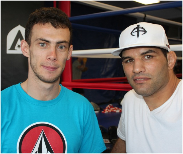 "Aymeric Riandet poses for a photo with his temporary coach/mentor Ferrid ""The Hurricane"" Kheder (r) at The Arena MMA gym in Point Loma, San Diego, CA. Kheder is also a Frenchman, a Judo, MMA, BJJ, Grappling, Pancrase and Sambo coach, former Olympian with 13 National Titles, two European Championships, four Super World Cup's (Grand Slams) and several other World Cups to his credit. He's a lifetime gladiator who travels the world to train, teach and compete. Photo: Jim Wyatt"