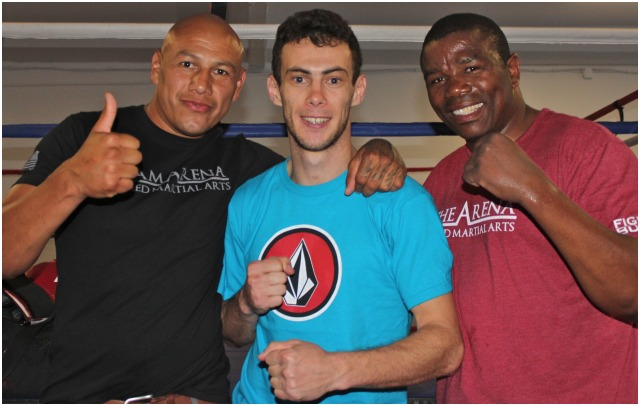 The indestructible Aymeric Riandet (c) should benefit big time from the three months of training with ex-pro boxers, now full time boxing trainers, Martinez (l) and Lucky. All photos: Jim Wyatt
