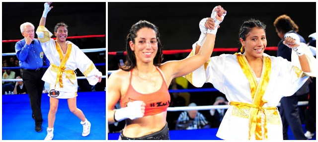 (right panel) At the conclusion of their bout, the winner Kenia Enriquez (r) holds up the arm of Noemi Bosques.