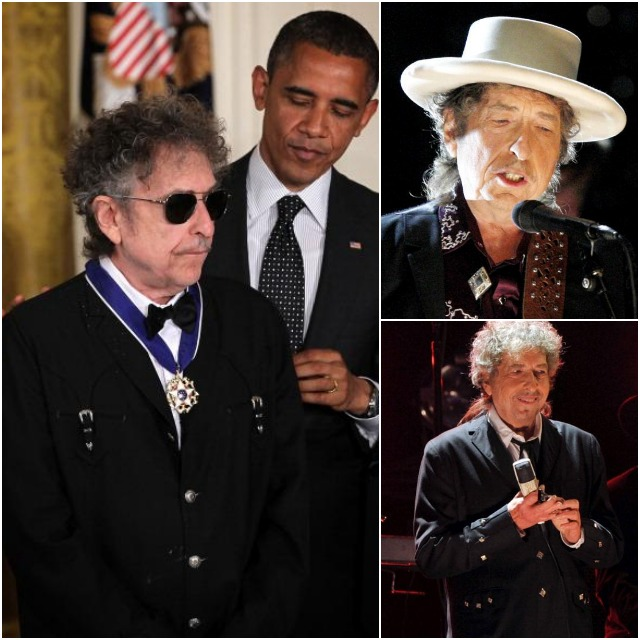 Bob Dylan (L) is presented with a Presidential Medal of Freedom by U.S. President Barack Obama (R) during an East Room event May 29, 2012 at the White House in Washington, DC. The Medal of Freedom, the nation's highest civilian honor, is presented to individuals who have made especially meritorious contributions to the security or national interests of the United States, to world peace, or to cultural or other significant public or private endeavors. Photo: Alex Wong/Getty Images