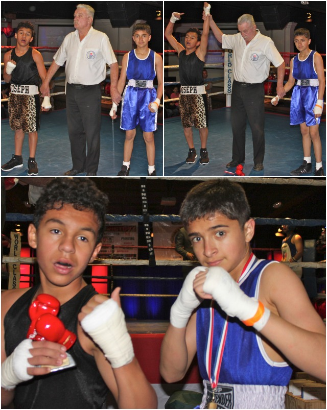 "Bout #1 featured two 13 year-olds, Joseph ""The Tiger"" Landeros (95 pounds) of Rubidoux Boxing Club in Riverside, a veteran of 20 bouts, going up against Jose Chollet (91 pounds) of Barrio Logan in Logan Heights, a veteran of 15 bouts."