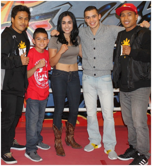 "During intermission, several young boxers were introduced to the crowd (l to r) Nonito Gesta, Juan Medina (recent Silver Medal winner at the California Silver Gloves competition), Amaris Quintana, Genaro Gamez and top contender Mercito ""No Mercy"" Gesta."