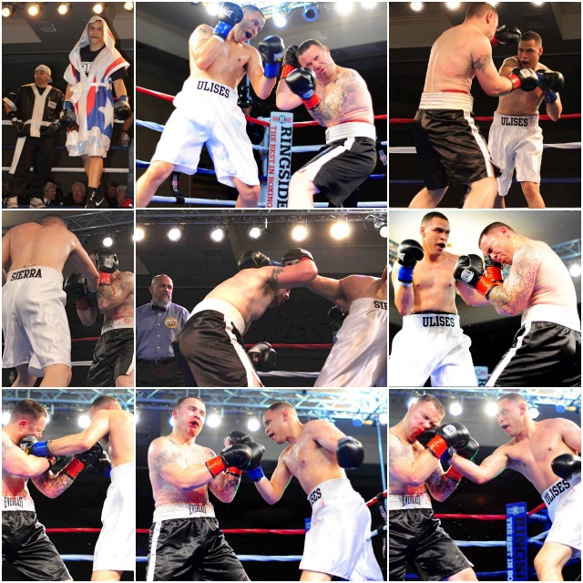 (top, left) Ulises Sierra makes his entrance for his bout against Loren Myers. (below) We see Sierra (white trunks) virtually taking his opponent apart. Photos: Paul Gallegos