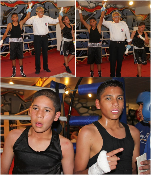 In Bout #3, it was 13 year-old Felix Soria, another southpaw, Felicia Soria's younger brother, from the same Soldiers of God Boxing program (93.7 pounds) going up against 12 year-old Carlos Sanchez of the Alliance Training Center, Chula Vista, CA (97.8 pounds).