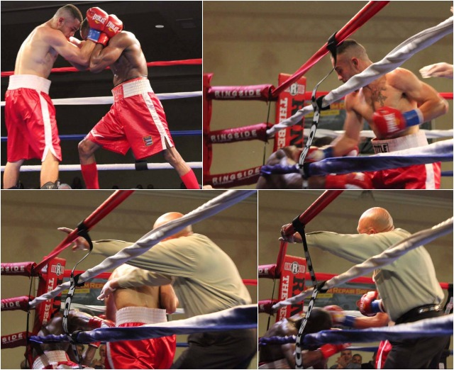 This was the turning point in the fight when Emmanuel Robles (r) managed to corner Yordenis Ugas and then connect with a hard left hook followed by a right cross to send Yordenis Ugas to his knees in his corner. Photos: Jim Wyatt