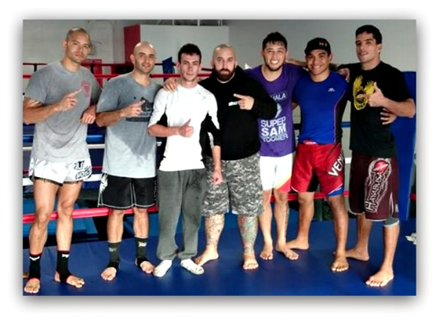 Knowing Riandet would be moving on, his mates at The Arean MMA gym got together for this photo. (l to r) James Ewton, Tony Mejia, Riandet Aymeric, Charles Martinez, Robert Marsters, Teiki Nauta and Here Dudes.