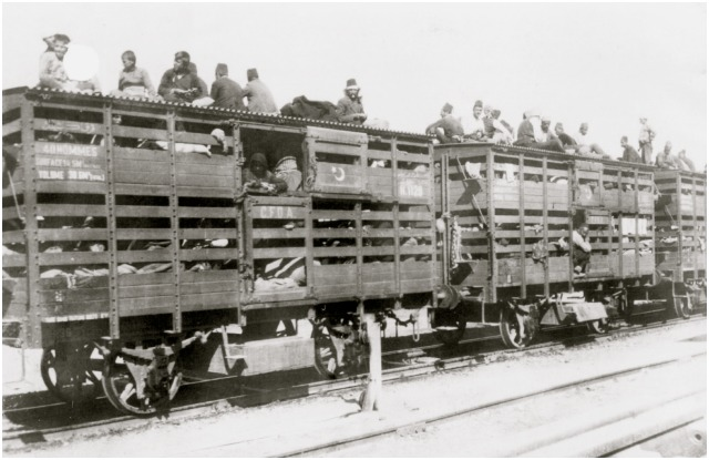 "Armenian deportees were transported in cattle cars on the Anatolian Railroad. On October 30, 1915, Anatolian Railroad director Franz J. Gὒnther reported to Bank Director Arthur  von Gwinner sarcastically remarking: ""Enclosed I send you a little photo showing the Anatolian Railroad as an upholder of  culture in Turkey. These are our so-called sheep-carts in which, for example, 880 people are transported in 10 carts."