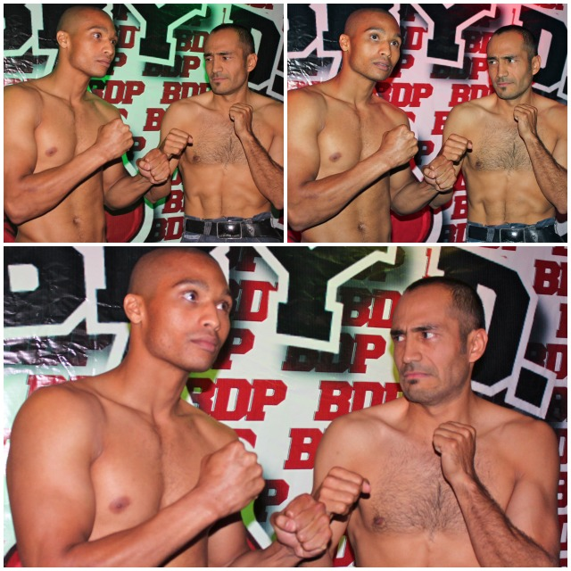 For fear of getting punched in the nose, make up your own mind regarding the look that Jarrod Tennant (l) is getting from his opponent Mario Angeles on Friday at the Four Points By Sheraton Hotel in San Diego..