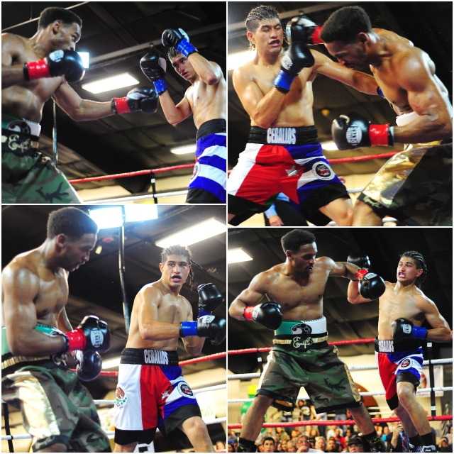 "The above action shots of Manuel ""Venado"" Ceballos (red, white & blue trunks) battling Jamel ""9MM"" reynolds (camoflauge trunks) were taken by Paul Gallegos"