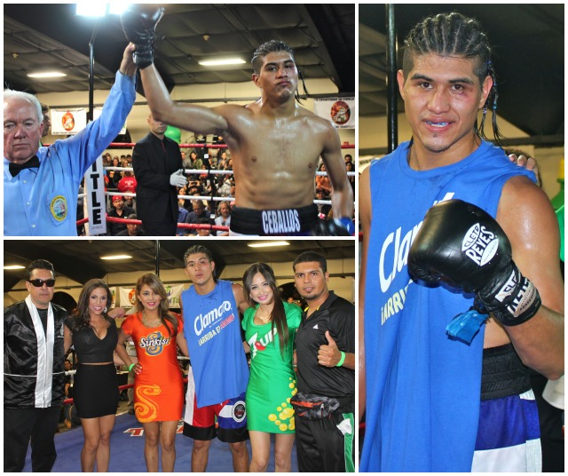 "(top, left) Manuel ""Venado"" Ceballos has his arm raised in victory by referee Pat Russell."