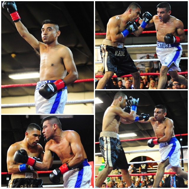 "(top, left) Prefight, Luis ""Paletero"" Silva is introduced to the crowd. (photos, right) At the outset, Silva was quite competitive, even it it only lasted one round. Photos: Paul Gallegos"
