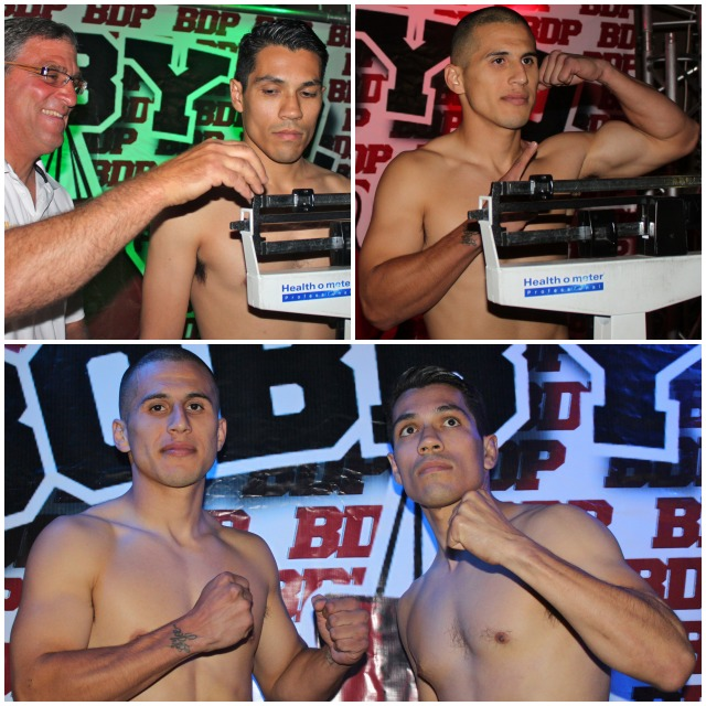At the conclusion of their weigh-ins, both Adrian Vargas (l) and his opponent Luis Cervantes pose for photos.