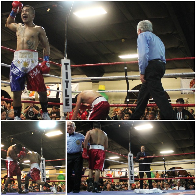 (top) Mercito Gesta celebrates the Edgar Riovalle knockdown. (below, left) After Riovalle received the standing 8-count, Gesta was right back at   it pounding his opponen