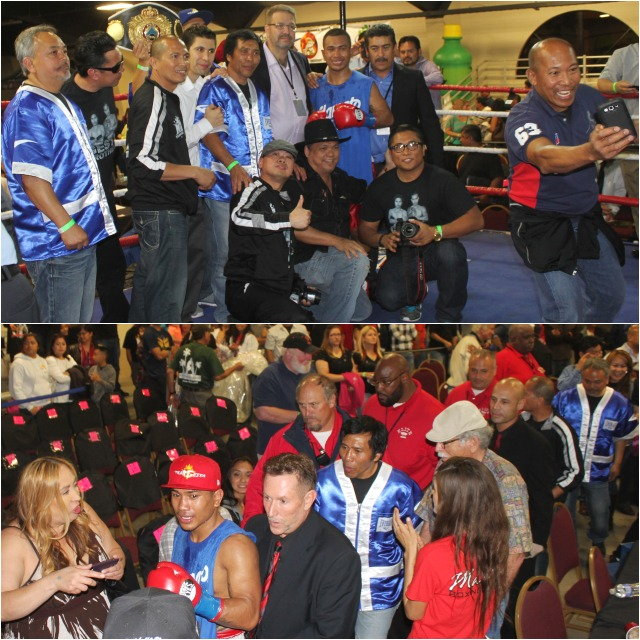 (top) the Mercito Gesta team poses for a photo after the fight. (bottom) we see Gesta getting an escort  back to the dressing room. Photos: Jim Wyatt