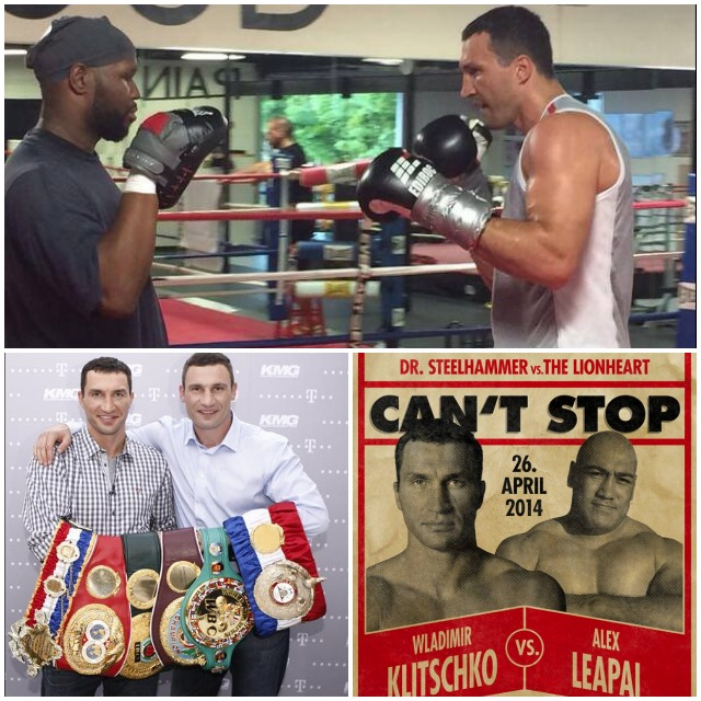(top) In training, Wladimir Klitschko is seen hitting the mitts. (bottom, right) the Klitschko versus Leapi fight poster.