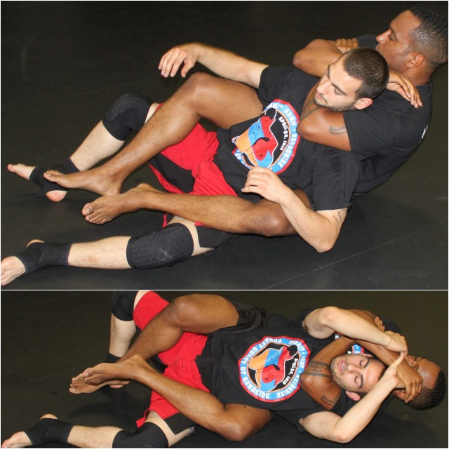 Bukich demonstrated how easy it is to get out of a rear naked choke.