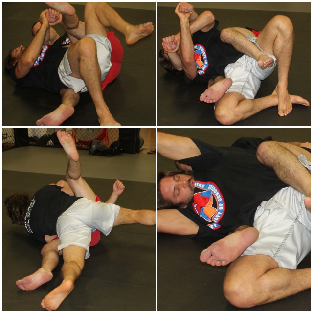 Jason Bukich (white trunks) was the first to demonstrate how easy it is to get out of a rear naked choke.