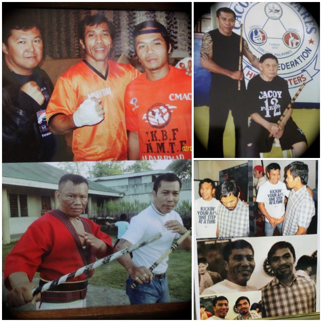 "In the Gesta gym the memories are everywhere. (top, right) This is a special photo showing Anecito Gesta Sr.'s first teacher, 94 year-old Supreme Master Ciriaco ""Cacoy"" Canete, who they say was the greatest Eskrima fighter of all time."