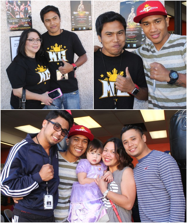 As they say, a fun time was had by all. (top, right) the boxing brothers Anecito Gesta Jr. and Mercito Gesta pose for a photo. All photos: Jim Wyatt