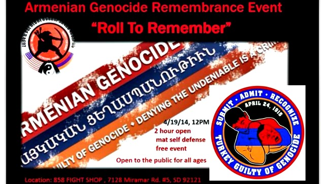 Saturday, April 19, 2014, between 12 noon and 2 p.m. the Fight Shop on Miramar Road in San Diego will be hosting the Armenian Genocide Remembrance Event plus a free, two hour, open mat self defense presentation