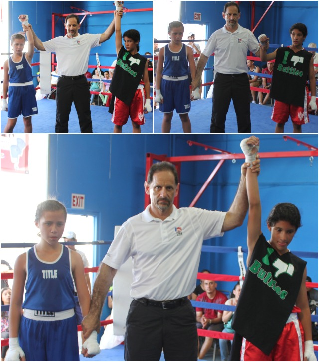 In Bout #17, it was 11 year-old Nahela Barrientes of the Alliance Training Center of Chula Vista (95 pounds) getting the best of 10 year-old Oloa Taa from the United Boxing & Fitness, Chula Vista who was making her debut(95 pounds).