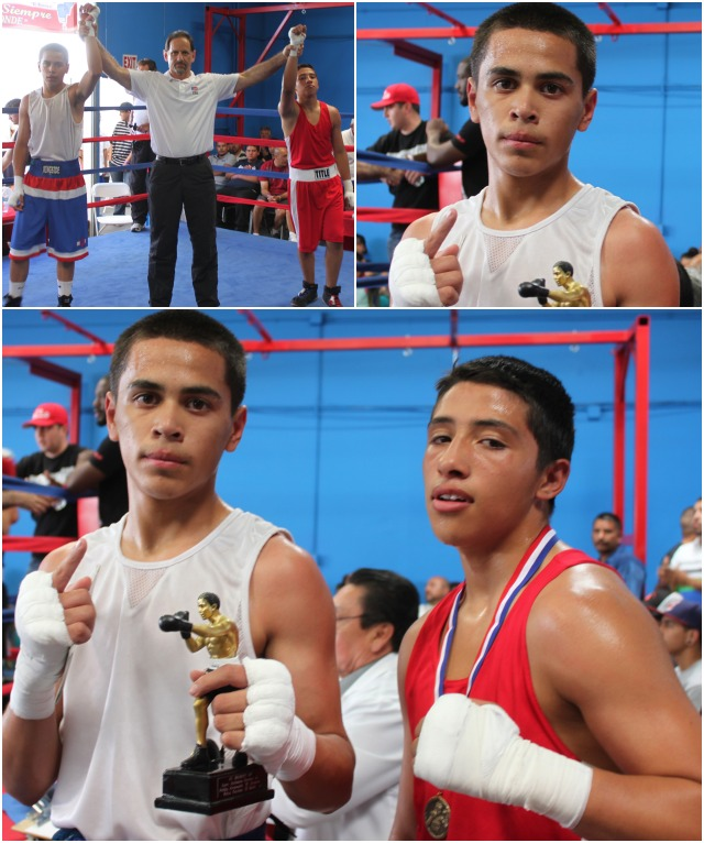 Bout #4, it was 14 year-old Giovani Contreras (11-6) from Barrio Station, San Diego (120 pounds) going up against 14 year-old Manuel Jaimes (120 pounds) from Felipes' Boxing Club, Lathrop, CA.