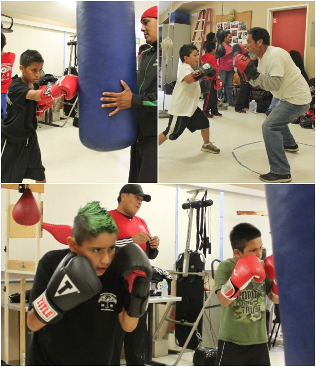 (top, right) Rey Alvarez works the mitts with one of his prize students.