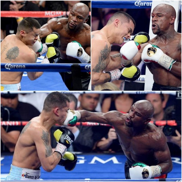 In this collage we start to see Money Mayweather dishing out the punishment and dictating the pace. (Photo by Ethan Miller/Getty Images)
