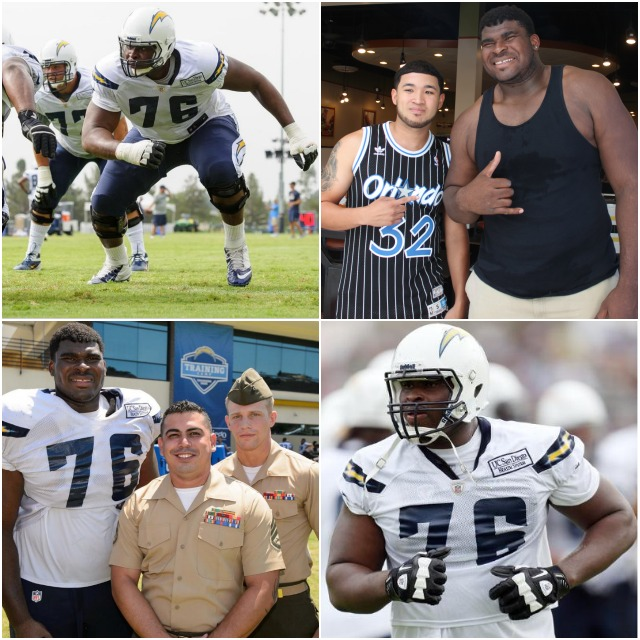 Chargers star defensive tackle, D.J. Fluker, was on hand for the weigh-ins and of course everyone wanted a photo with this football great.