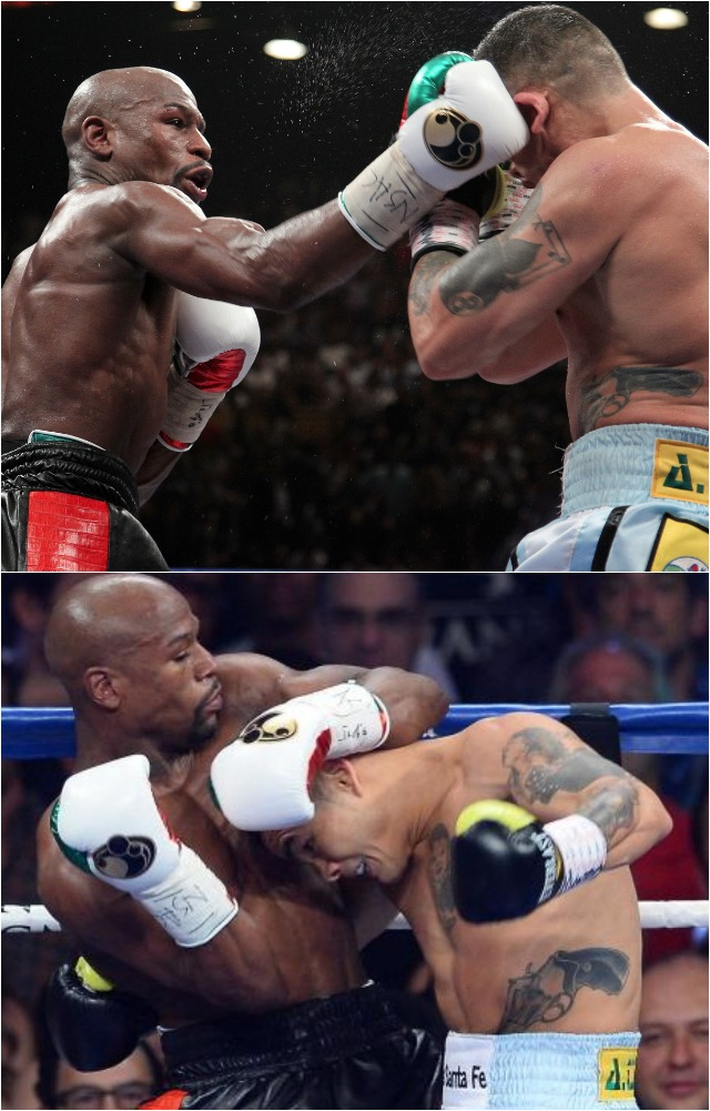 (R-L) Floyd Mayweather Jr. throws a right to the face of Marcos Maidana during their WBC/WBA welterweight unification fight at the MGM Grand Garden Arena on May 3, 2014 in Las Vegas, Nevada. (Photo by Ethan Miller/Getty Images(bottom) If you're going to get rough with me, then two can play the same game.
