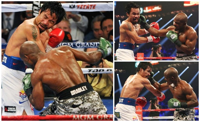 In both the fourth and fifth rounds, Timothy Bradley made his best showingby way of the straight right to the side of Manny Pacquiao's head. Photo: jeff Gross/Getty Images