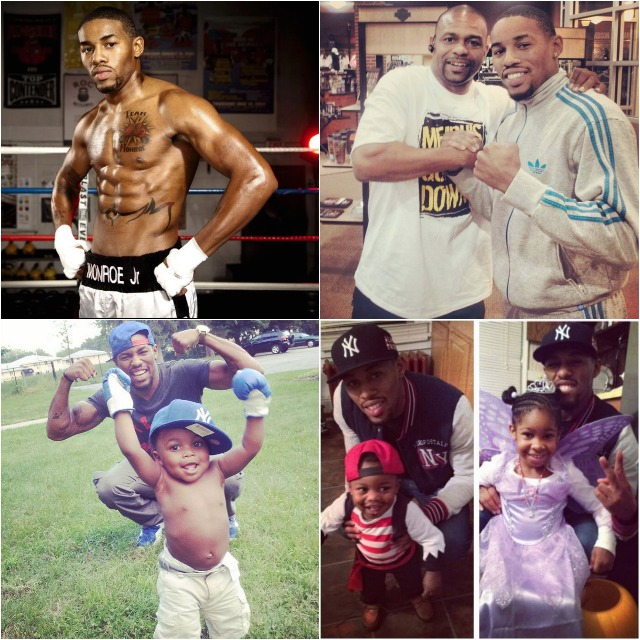 (top, right) Willie Monroe Jr. poses for a photo with his idol Roy Jone Jr. (bottom) Monroe enjoys time with his children.