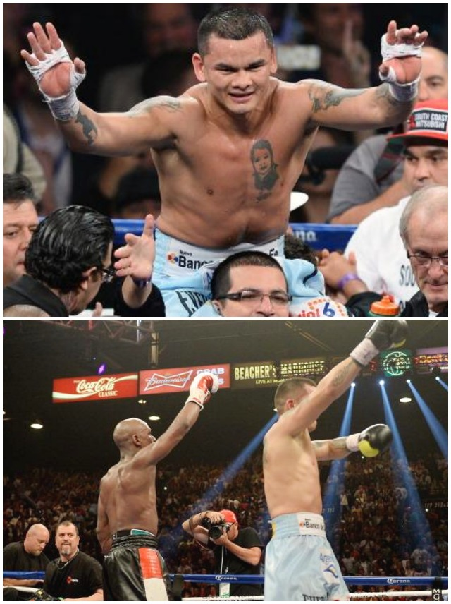 Marcos Maidana is raised up by his cousin Pileta Maidana after his WBC/WBA welterweight unification fight against Floyd Mayweather Jr. at the MGM Grand Garden Arena on May 3, 2014 in Las Vegas, Nevada. Mayweather took Maidana's title with a majority-decision victory. Photo: Ethan Miller/Getty Images