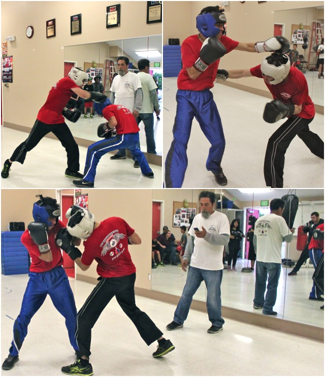 Kevin Salas (white headgear) and Jose Luis Estrada (black headgear) spar with a lot of intensity.