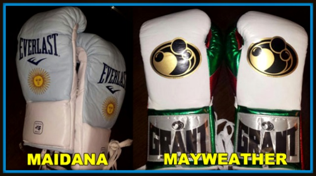 The controversial gloves (l) are the gloves ordered by the Marcos Maidana/Robert Garcia camp.