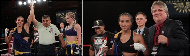(bottom, left) After the stoppage, Jemyma Betrian has her arm raised in victory. (bottom, left) Betrian is joined by Dennis Warner, the CEO  of Insync Promotions.