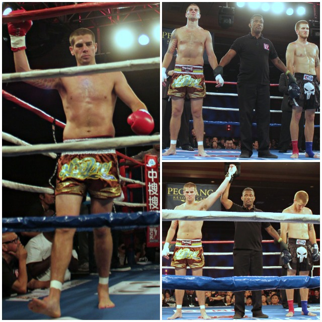 After the referee called for a halt to the contest, Jon Stark had his arm raised in victory by referee George Valdez. Photos: Jim Wyatt