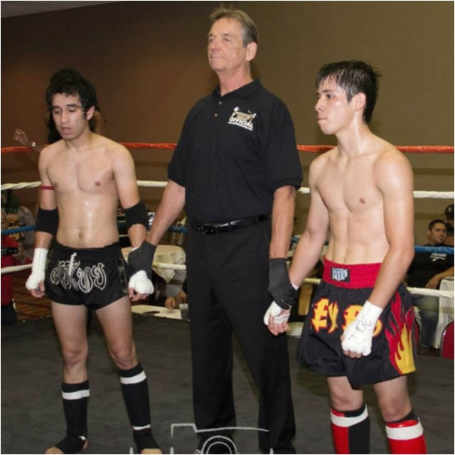 In Bout #2, it was Ramon Gallardo (l) of Team Double Dose, of Fontana, CA  getting the nod over Miguel Reyes Jr. from the Reyes Gym, Tijuana, B. C., Mexico.