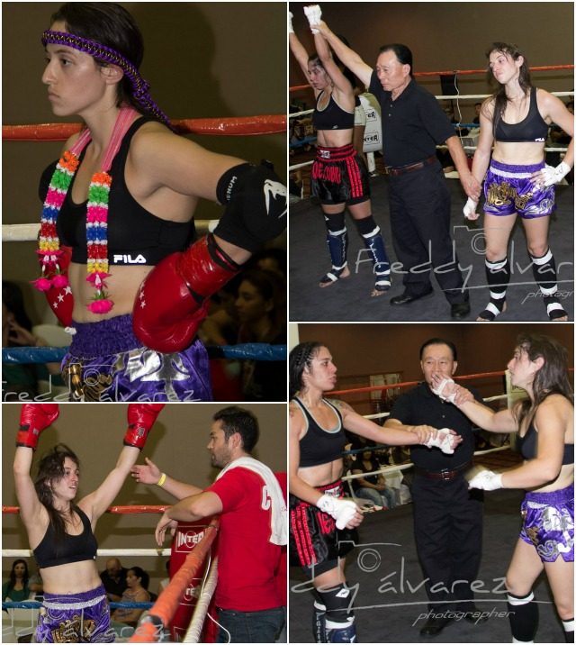 She gave it everything she had but it wasn't enough. (top, right) Julia Perez has her arm raised in victory after defeating Alexa Lucido (r). Photos: Freddy Alvarez