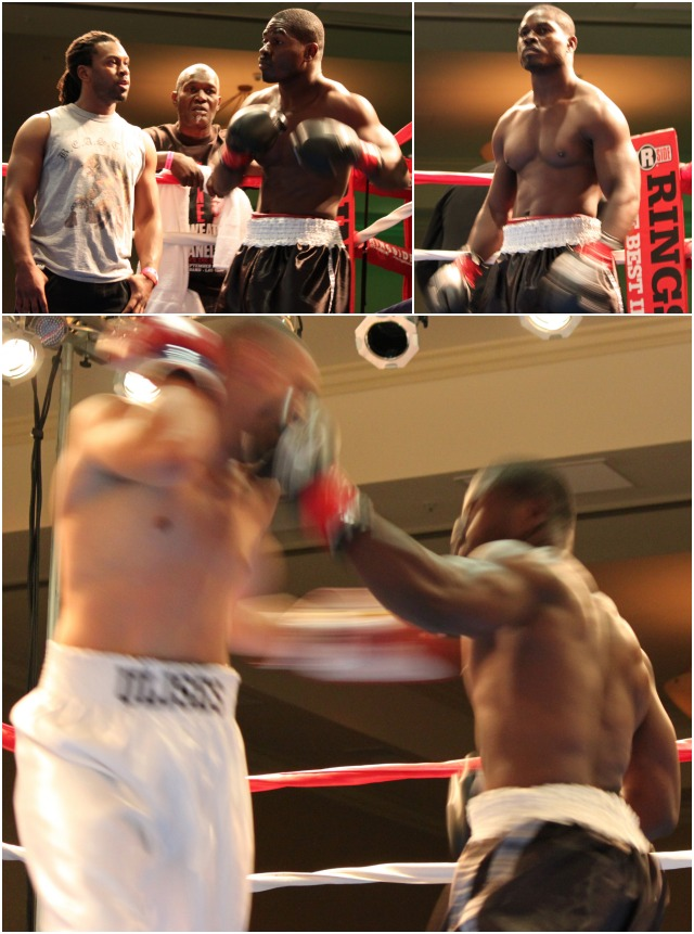 (top, left) The one and only Cromwell Gordon warms up just prior to the opening bell.  (bottom) The photo that got away. Here we have both boxers, Gordon (r) and his opponent Ulises Sierra (l) landing solid (last man standing) punches at the very same time.