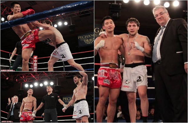 (bottom, left) At the conclusion of Bout #4, Melsik Baghdasaryan had his arm raised in victory