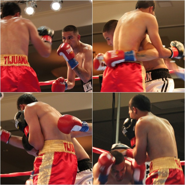 (top, left) Victor Capaceta (l) and Smokin' Joe Perez face off in their second fight at the Crown Plaza Hotel in Mission Valley.