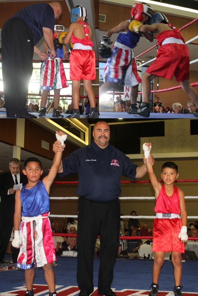 "Bout #6 featured an exhibition between JC ""El Nino Feo"" Meza and David ""The Baby Faced Assassin"" Cota, two youngsters currently in the National City CYAC boxing program."