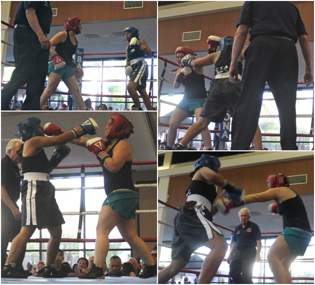 Jeanna Carrillo (red head gear) doesn't need a trainer or coach, she has invented her own methods.
